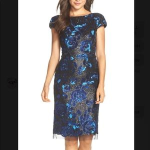 Vera Wang Blue Sequin Floral Dress Size 8